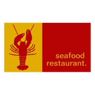 Modern Silhouette Seafood Restaurant | yellow red Business Card