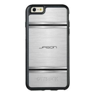 Modern Silver And Black Metallic Design OtterBox iPhone 6/6s Plus Case