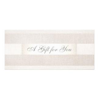 Modern Silver and Linen Gift Cerificate Rack Card Design
