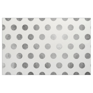 Modern Silver and White Polka Dots Fabric