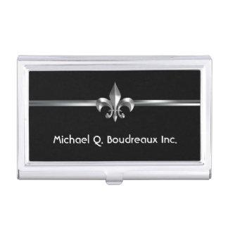 Modern Silver Black Fleur de Lis Business Card Holder