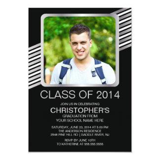 """Modern Silver Black Photo Graduation Party Invite 5"""" X 7"""" Invitation Card"""