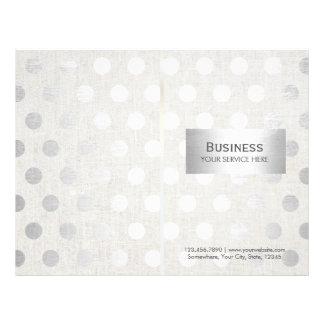 Modern Silver Dots Classy Linen Bi-Fold Brochures