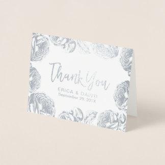 Modern Silver Floral Wedding Thank You Foil Card