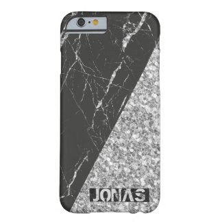 Modern Silver Glitter And Black Marble Barely There iPhone 6 Case