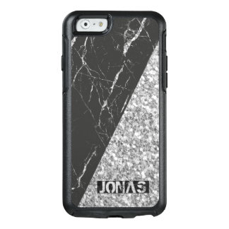 Modern Silver Glitter And Black Marble Stone OtterBox iPhone 6/6s Case