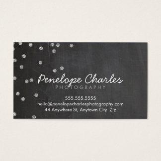 MODERN silver glitter confetti dots chalkboard Business Card