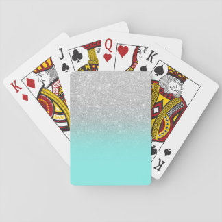 Modern silver glitter ombre teal ocean playing cards