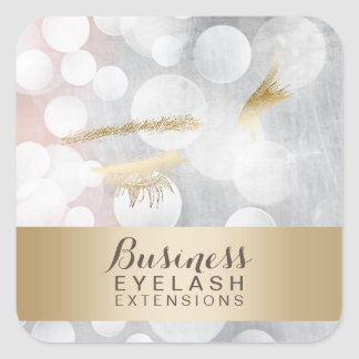 Modern Silver & Gold Eyelash Extensions Square Sticker