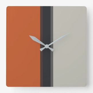 Modern Silver Gray Navy Orange Red Stripe Pattern Square Wall Clock