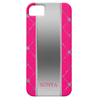 Modern Silver Hot Pink Geometric Shapes iPhone 5 Case