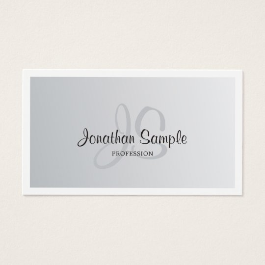 Modern Silver Look Chic Monogrammed Plain Trendy Business Card