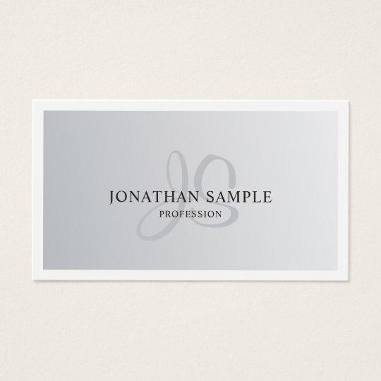 Modern Silver Look Elegant Monogram Design Trendy Business Card