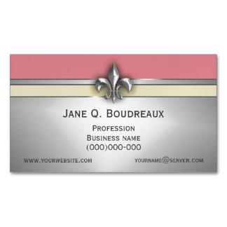 Modern Silver Pink Yellow Fleur de Lis Magnetic Business Card