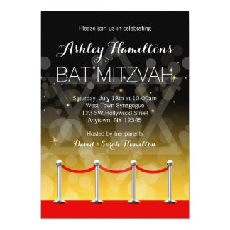Modern Silver Red Carpet Hollywood Bat Mitzvah Card