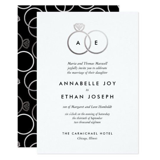 Modern Silver Rings Monogram Wedding Invitation