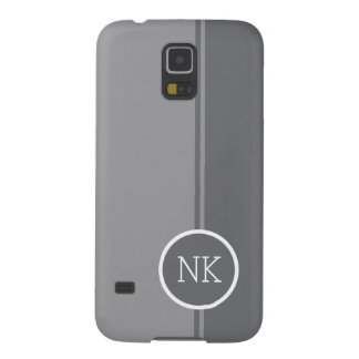 Modern silver round circle Monogram Cases For Galaxy S5