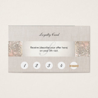 Modern Silver Sequin Monogram Customer Loyalty Business Card