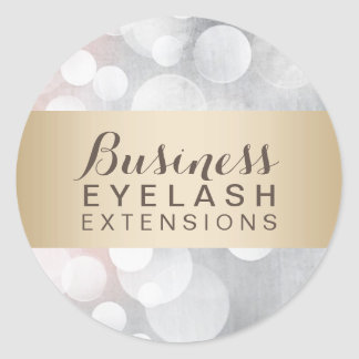 Modern Silver Sparkles Gold Striped Salon Business Round Sticker