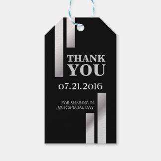 Modern Silver Stripe Wedding Thank You Card Gift Tags