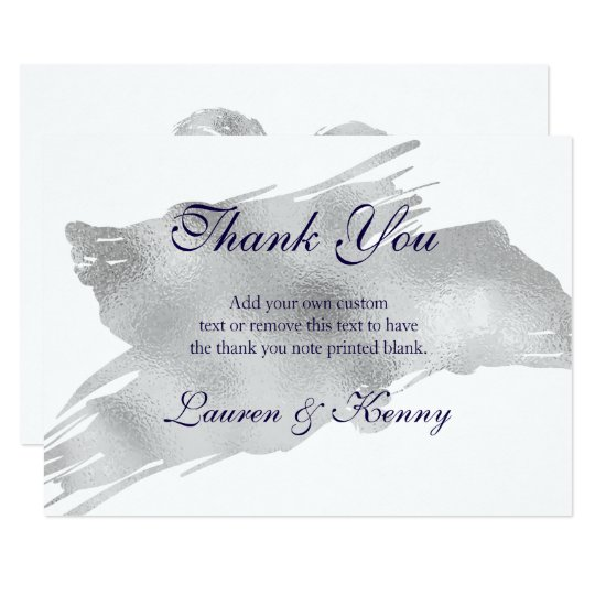 Modern Silver Thank You Cards