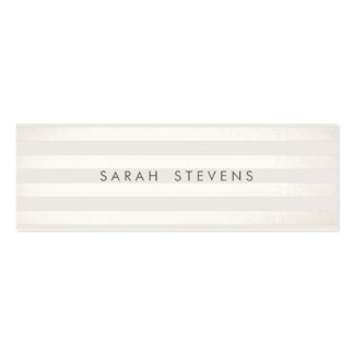 Modern Silver Thin Off White Striped Salon Spa Pack Of Skinny Business Cards