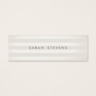 Modern Silver Thin Off White Striped Salon Spa Mini Business Card
