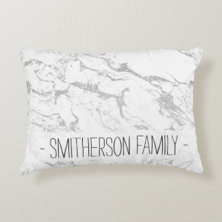 Modern silver white marble pattern accent pillow