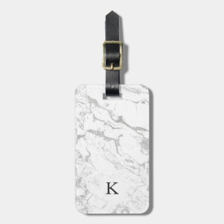Modern silver white marble pattern luggage tag