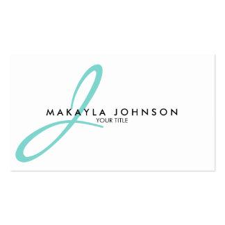 Modern & Simple aqua blue Monogram Professional Business Card