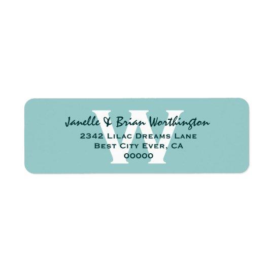 Modern Simple Aqua Monogram Wedding V09