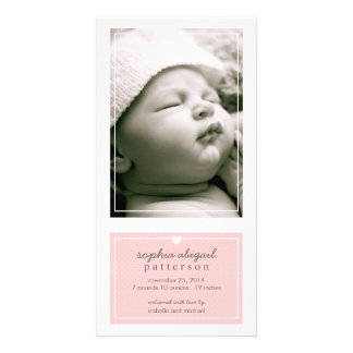 Modern Simple Baby Girl Birth Announcement Pink Card