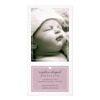 Modern Simple Baby Girl Birth Announcement Purple Picture Card