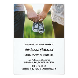 Modern Simple Baby Shower Couple Photo Card