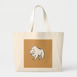 Modern, Simple & Beautiful Hand Drawn Bear Large Tote Bag