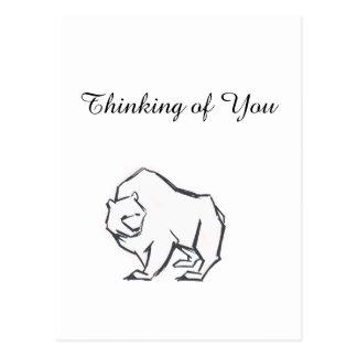 Modern, Simple & Beautiful Hand Drawn Bear Postcard
