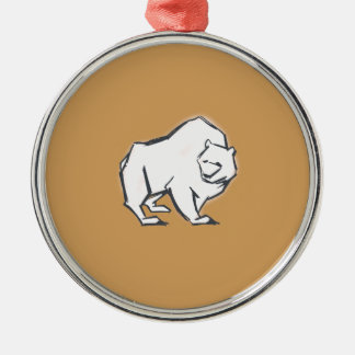 Modern, Simple & Beautiful Hand Drawn Bear Silver-Colored Round Ornament