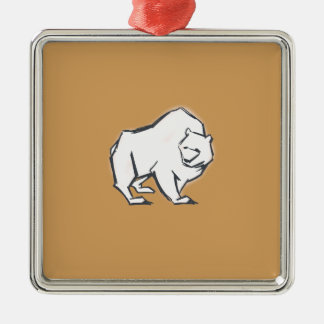 Modern, Simple & Beautiful Hand Drawn Bear Silver-Colored Square Ornament