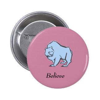 Modern, Simple & Beautiful Hand Drawn Blue Bear 2 Inch Round Button