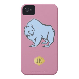 Modern, Simple & Beautiful Hand Drawn Blue Bear iPhone 4 Cases