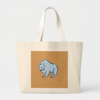 Modern, Simple & Beautiful Hand Drawn Blue Bear Large Tote Bag