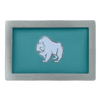 Modern, Simple & Beautiful Hand Drawn Blue Bear Rectangular Belt Buckle