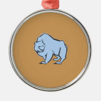 Modern, Simple & Beautiful Hand Drawn Blue Bear Silver-Colored Round Ornament