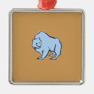 Modern, Simple & Beautiful Hand Drawn Blue Bear Silver-Colored Square Ornament