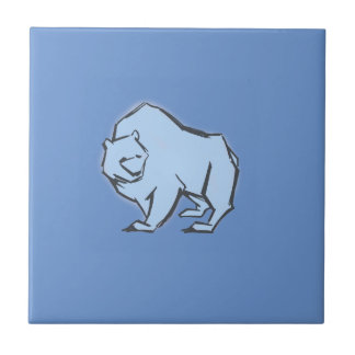 Modern, Simple & Beautiful Hand Drawn Blue Bear Tile