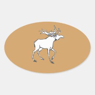 Modern, Simple & Beautiful Hand Drawn Deer Oval Sticker