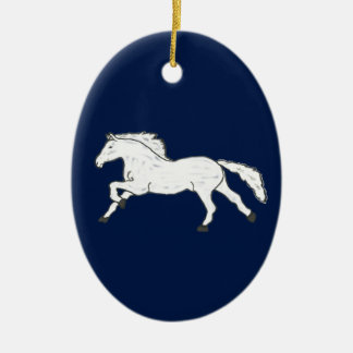 Modern, Simple & Beautiful Hand Drawn Horse Ceramic Oval Ornament