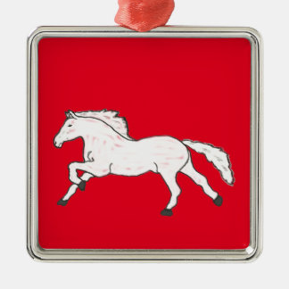 Modern, Simple & Beautiful Hand Drawn Horse Silver-Colored Square Ornament