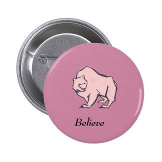 Modern, Simple & Beautiful Hand Drawn Pink Bear 2 Inch Round Button