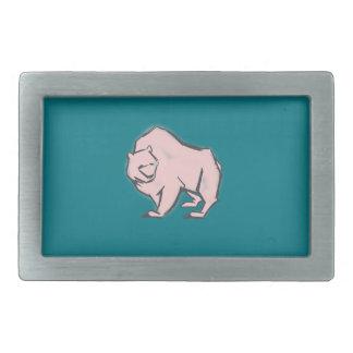 Modern, Simple & Beautiful Hand Drawn Pink Bear Belt Buckle